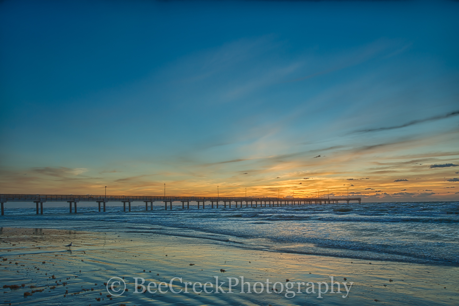 Port A, Port Aransas, Sunrise, Texas Coast, Texas beach, beach, blue, coast, coastal, fishing pier, gulf of mexico, landscape, landscapes, nature, ocean, pier, sand, sea weed, seascape, seascapes, sur, photo