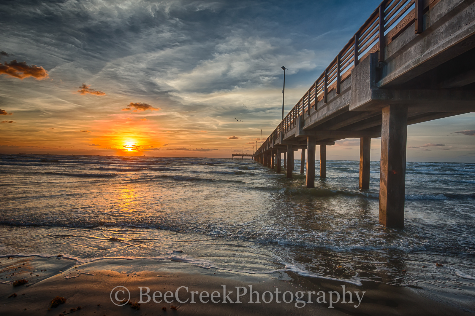 Caldwell pier, Texas piers, texas pier, Port A, Port Aransas, Sunrise, Texas Coast, Texas beach, beach, coast, fishing pier, gulf of mexico, landscape, nature, ocean, sand, sea weed, seascape, surf, t, photo