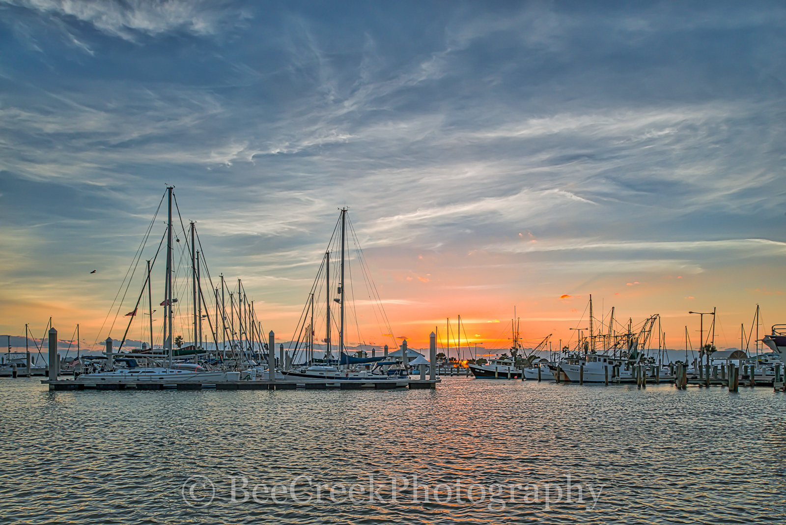 Corpus Christi sunrise, Sunrise, Texas Coast, bay, boats, city, coastal, colorful sky, docks, gulf of mexico, landscape, landscapes, marina, marina sunrise, ocean, scenic, seascape, seawall, shore, te, photo