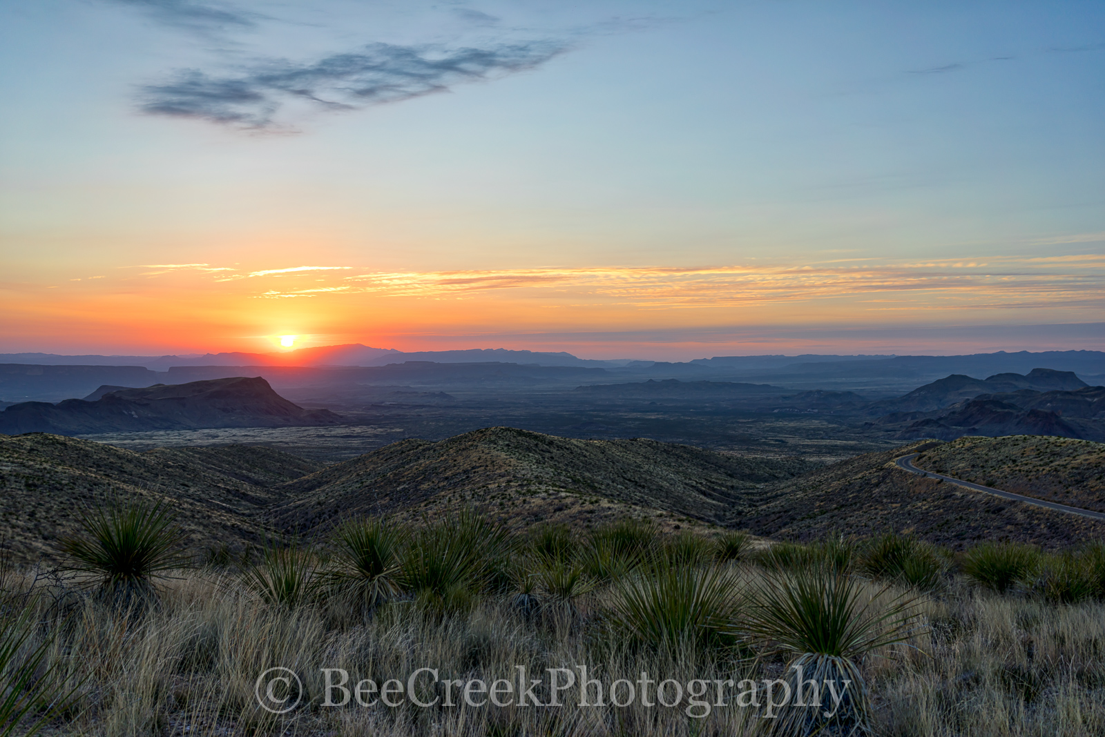 Big Bend National Park, Chihuahuan Desert, Sotal Overlook, Sotol Vista Overlook, big bend, catus, colorful, desert, landscape, sky, sotol, sotols, sunset, sunsets, yuccas, photo