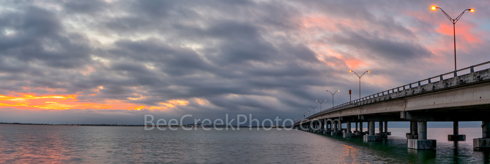 Sunset at Queen Isabella Causeway Pano - This is sunset at the Queen Isabella Causeway,  located in southern Cameron County...