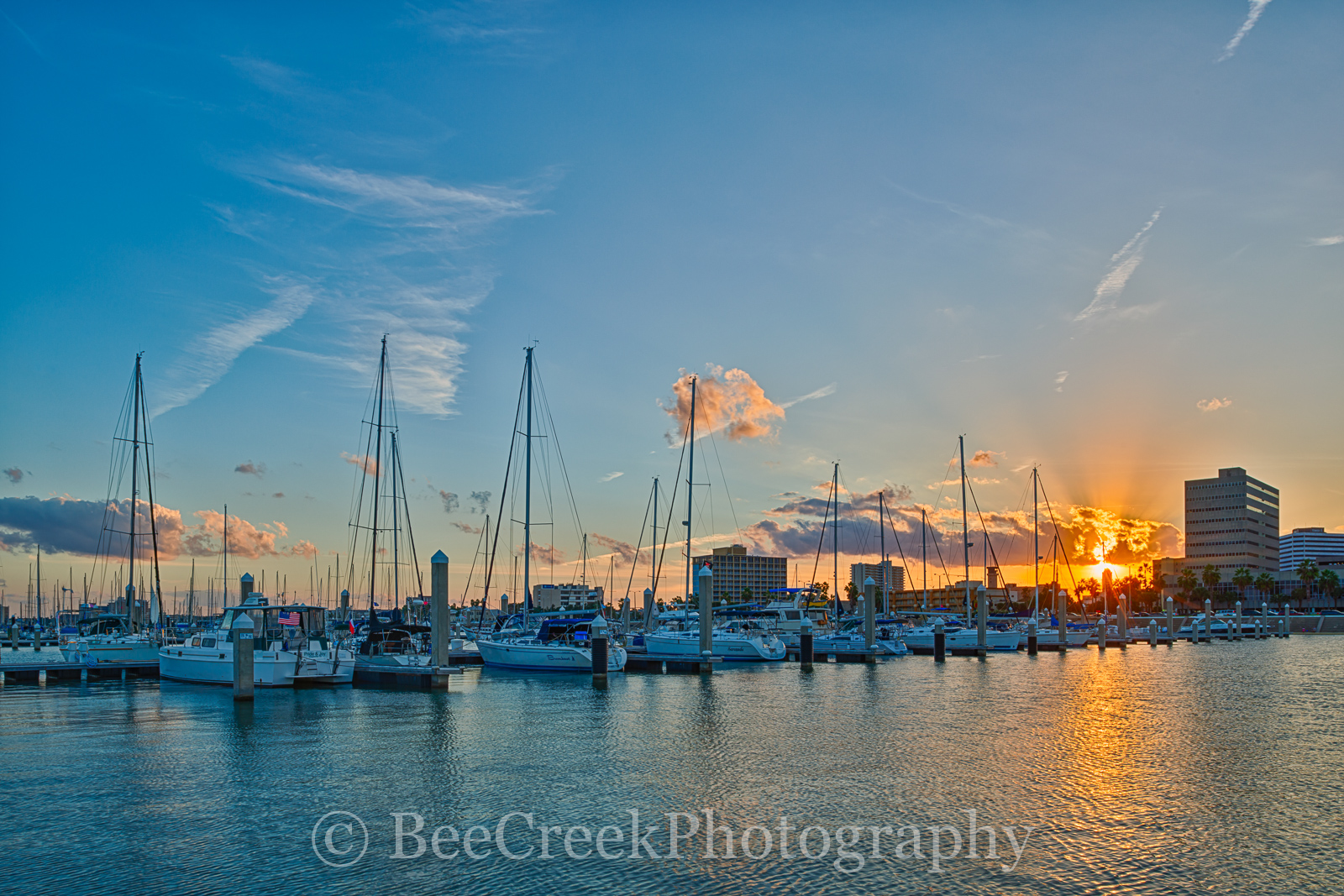 Corpus Christi sunset, Texas coastal, bay, boats, city, colorful sky, docks, marina, ocean, reflections, sailboats, seascape, seawall, water, yachts, photo