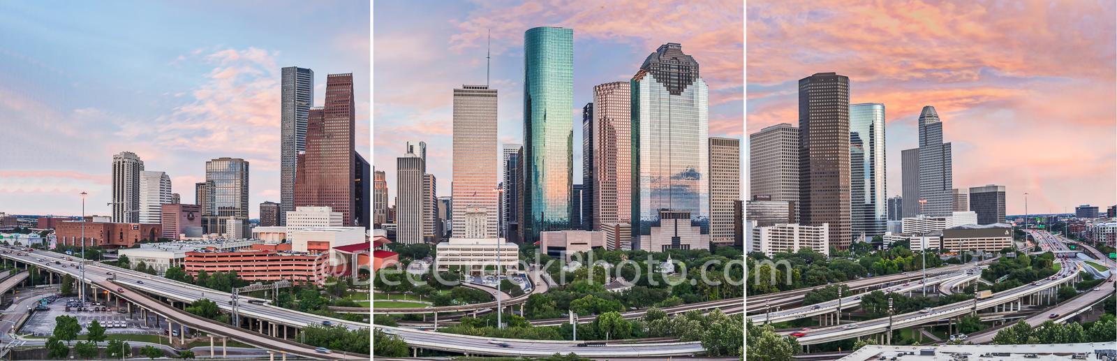 Houston, skyline, split panel images, triptych, mulitple images,