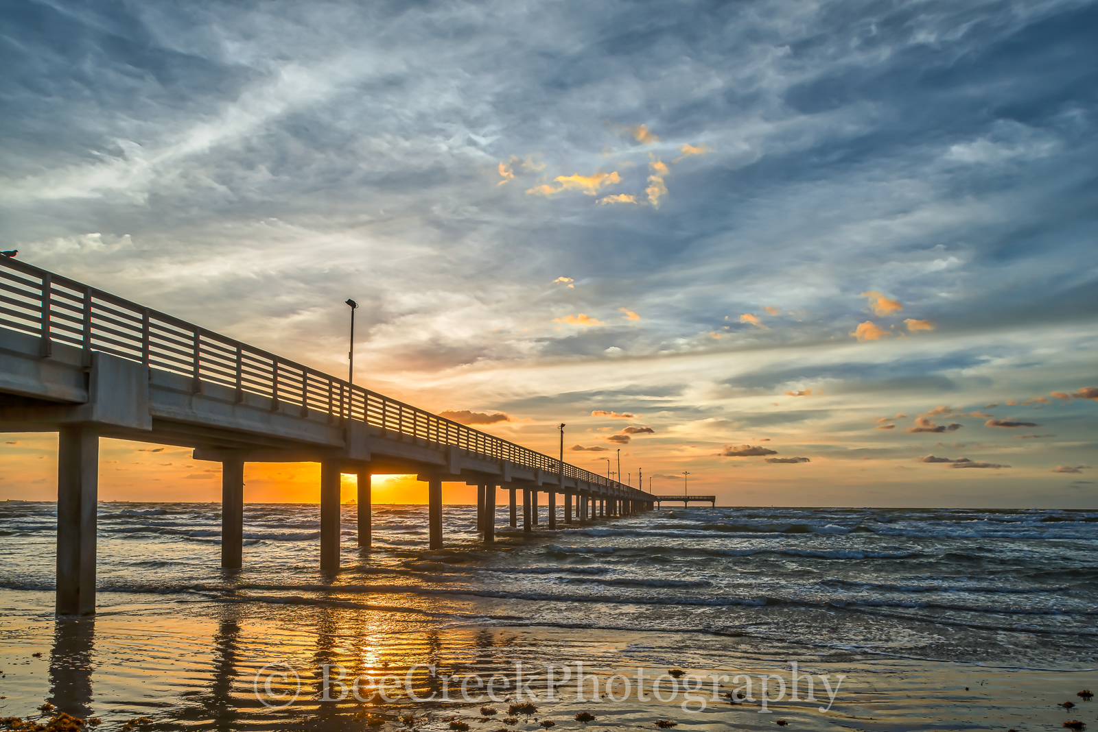 Caldwell pier, pier, Sunrise, Texas Coast, Texas beach, beach, clouds, coastal, fishing, gulf, landscape, landscapes, ocean, sea, seascape, shore sand, surf, texas, waves, beach scene, , photo