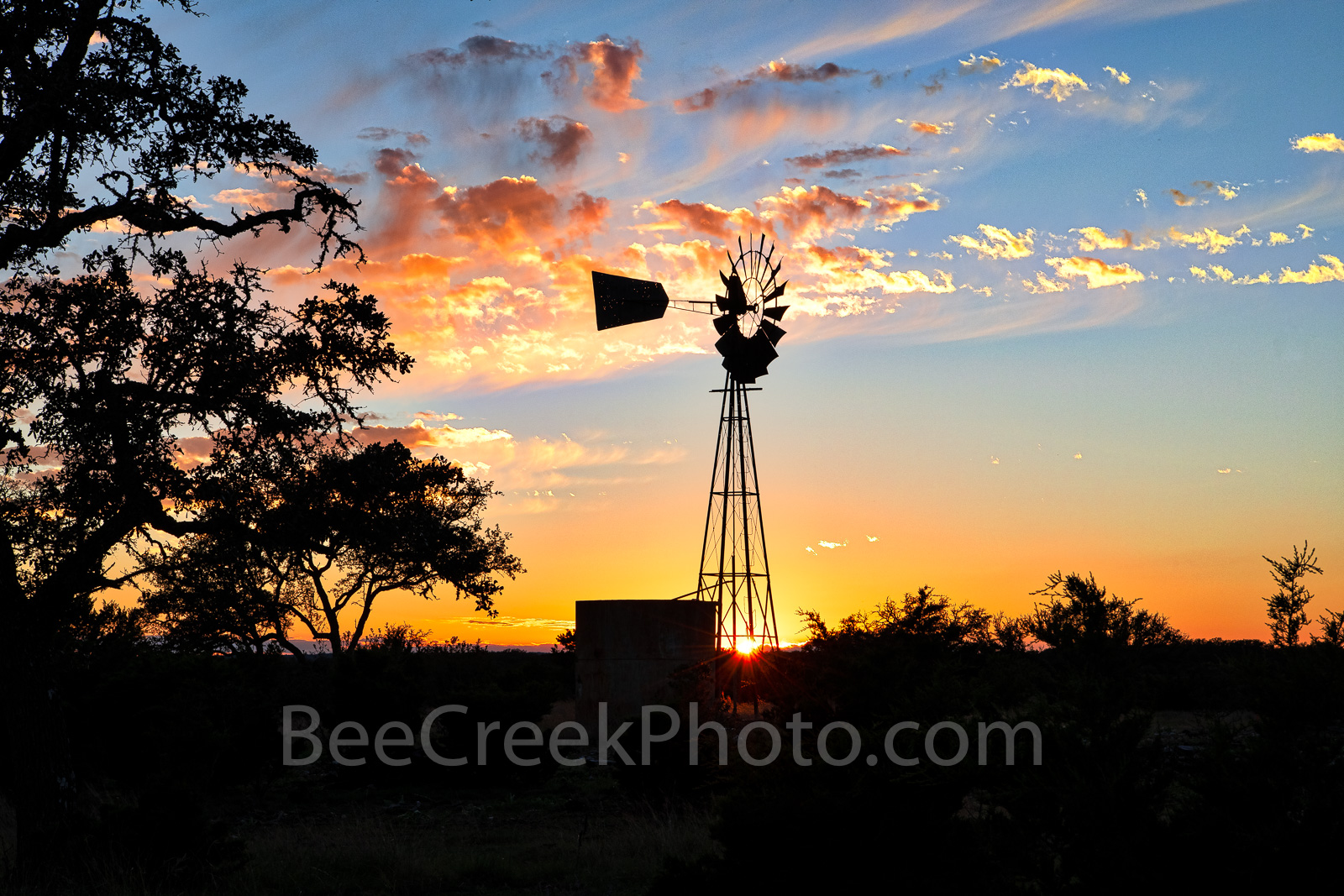 Texas, windmill, sunset, texas hill country, landscape, Texas windmill, silouette, twinkle, horizon, trees, water tank, blades, , photo