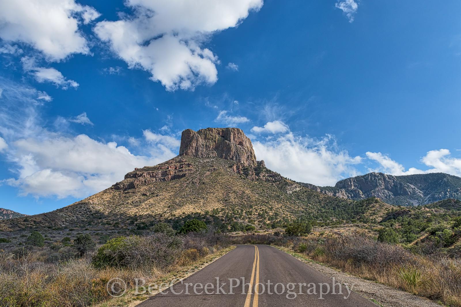 Big Bend National Park, Casa Grande Peak, Chiso mountains, Mountains, Road, blue skies, clouds, landscape, photo