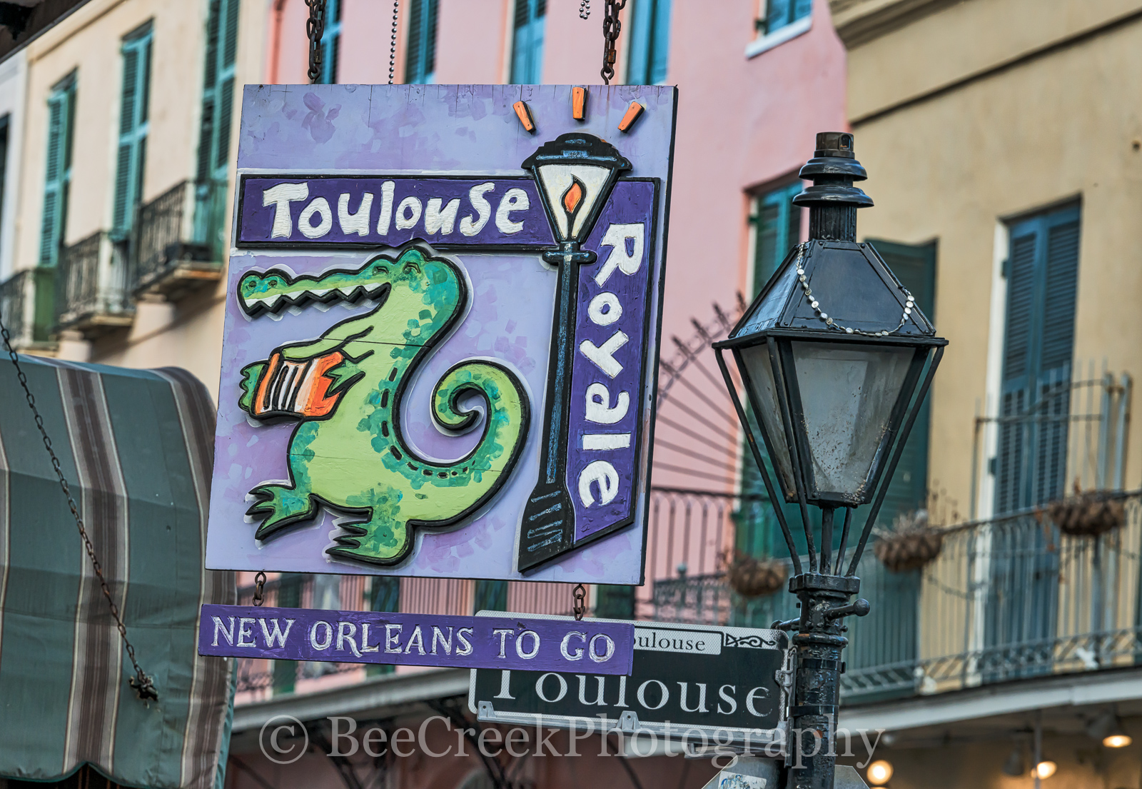 Bourbon Street, French Quarter, New Orleans, bars, day, live music, neon, neon signs, restaurants, signs, Toulouse and royal street sign, , New Orleans cityscapes, photo