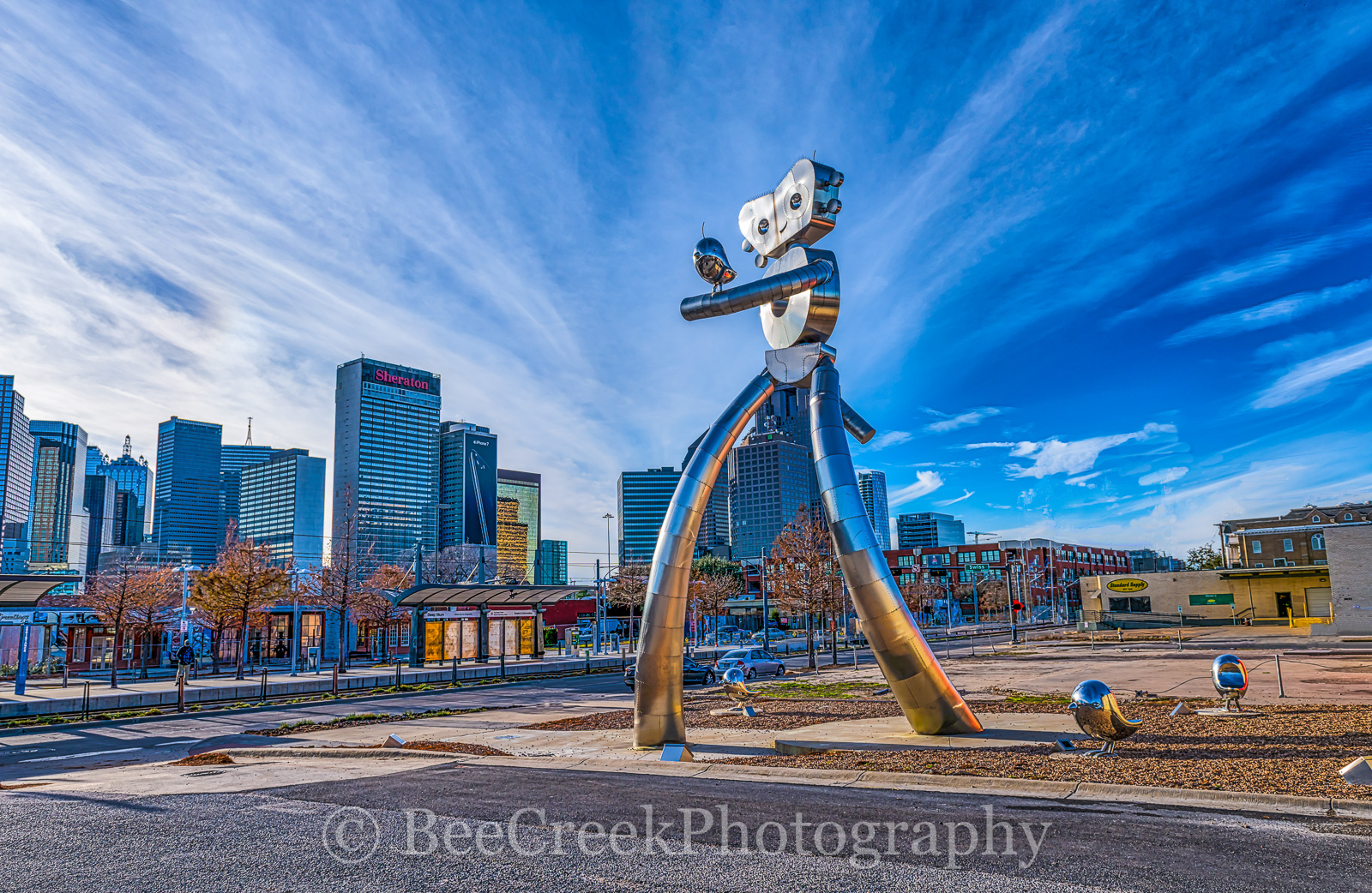 Dallas, Deep Ellum, bird, birds, cityscape, cityscapes, day, images of dallas, mass transit, photos of Dallas, pictures of Dallas, robot, scuplture, skyline, strolling, train, traveling man, us, usa, photo