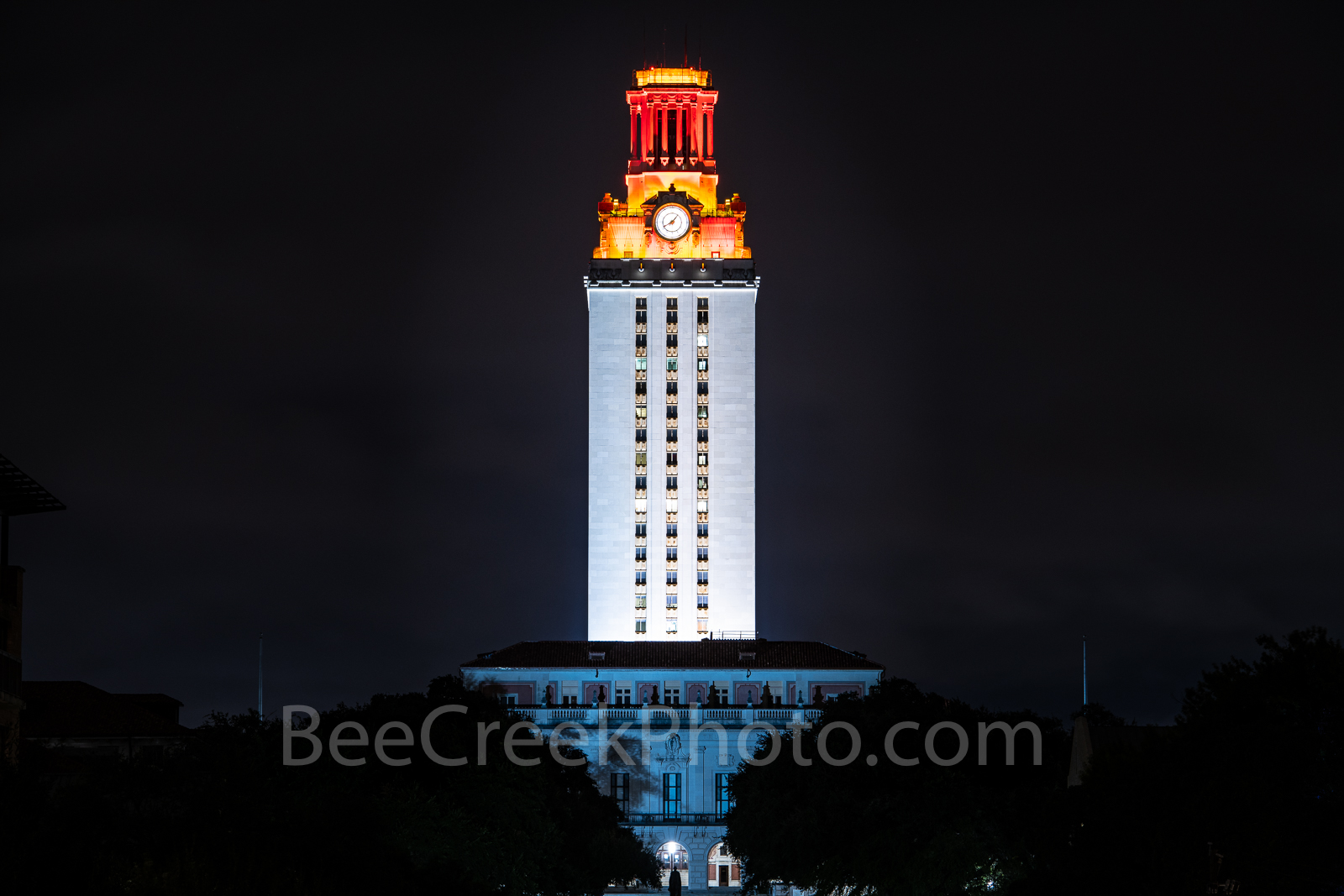 UT Tower Win - A little closer view of the UT Tower in downtown Austin which is a landmark with the top of the tower orange....