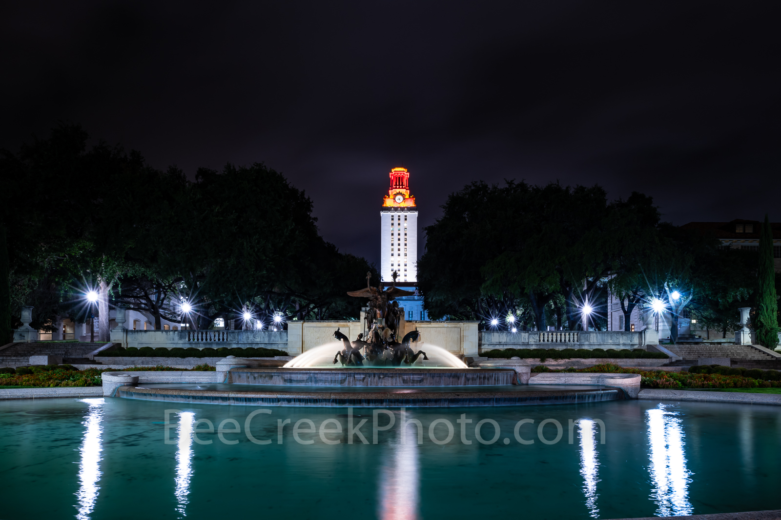 Austin, University of Texas, UT Tower, Littlefield Fountain, campus, downtown, burnt orange, downtown, landmark,, photo