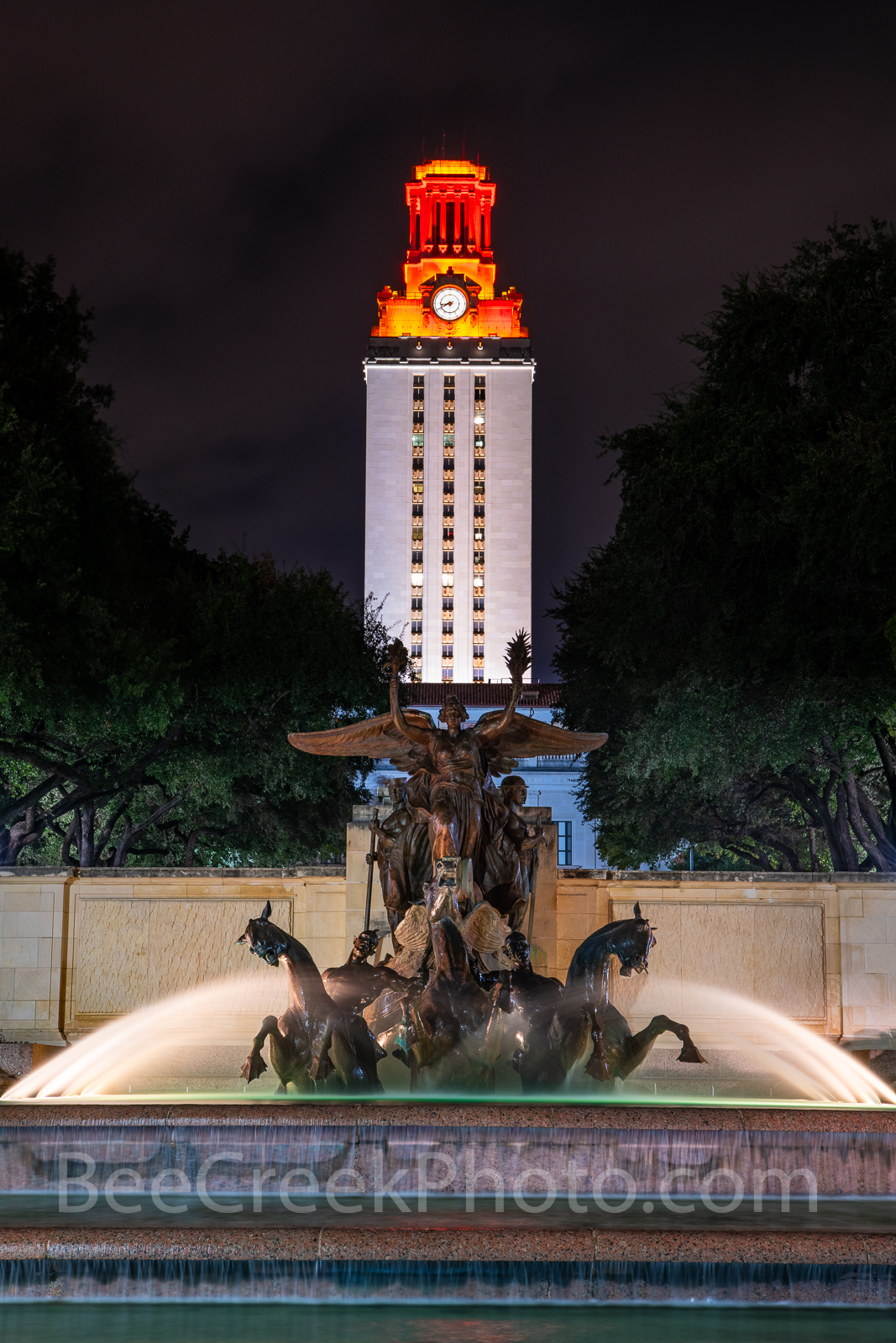 UT, Littlefield Fountain, night, UT Tower, burnt orange, campus,tall, vertical, downtown, Austin, water, fountain, flowing, WW1 memorial, football,, photo