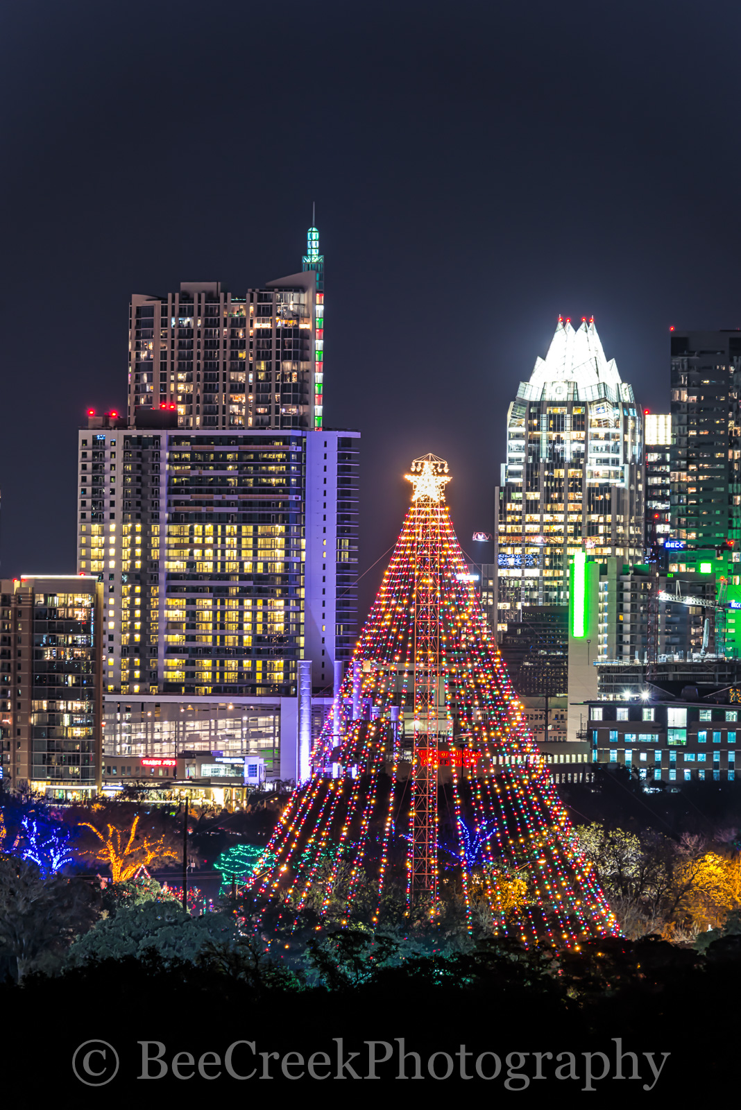 Austin, Christmas, Christmas season, Trail of lights Ausitn, Zilker Christmas tree, austin skyline, city, cityscape, cityscapes, downtown, holidays in Austin, images of austin, photos of austin, verti, photo