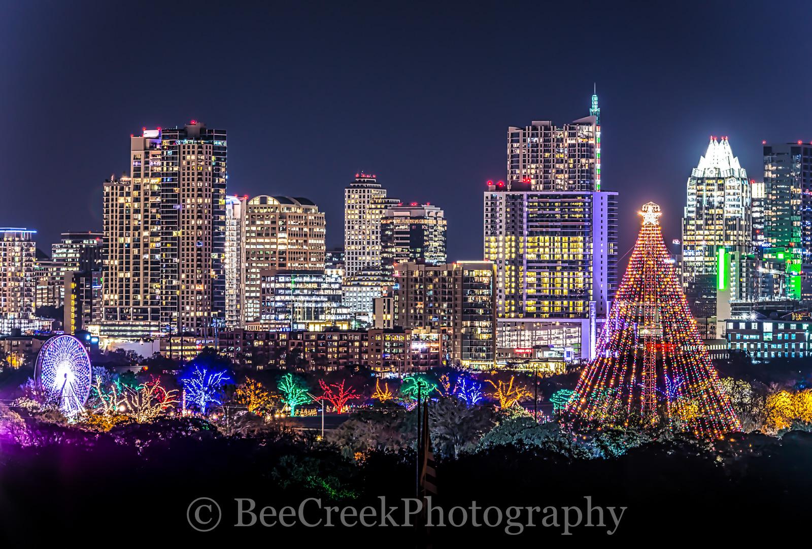 Austin, Austin 360 Condos, Christmas Tree, Ferris wheel, Frost, Zilker Christmas tree, cityscape, cityscapes, high rises, holiday, holidays, skyline, skylines, trail of lights, austin skylines, austin, photo