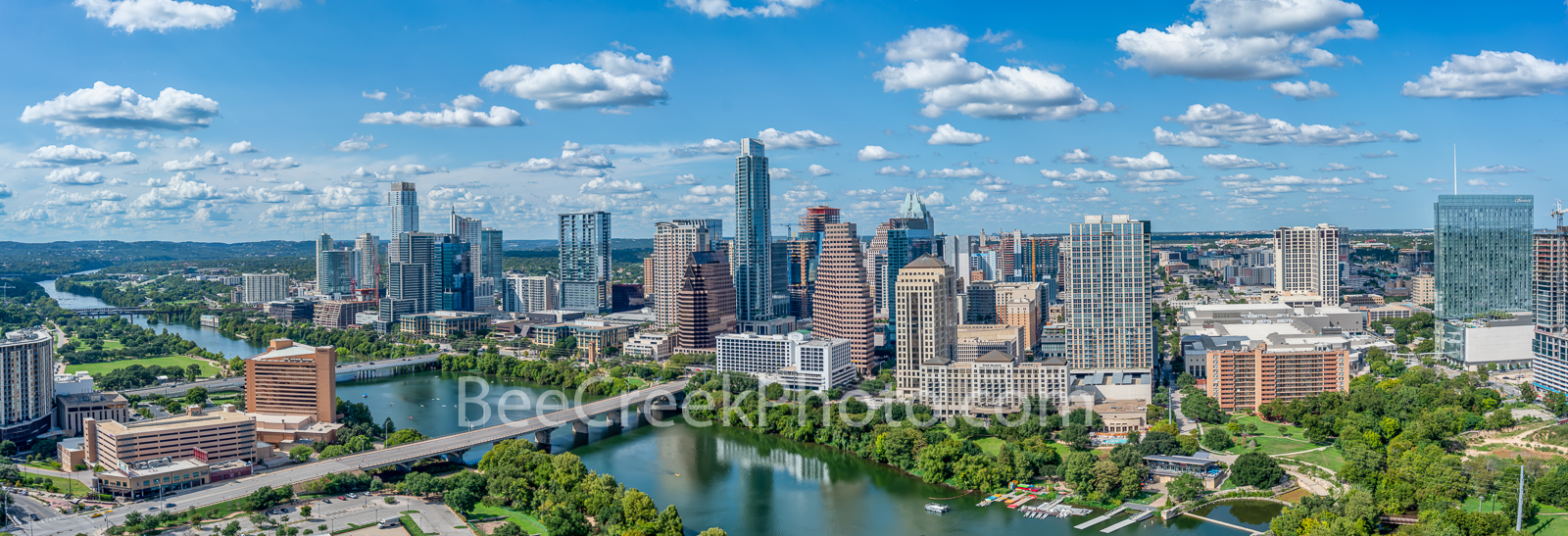 Aerial Austin Skyline Panorama - This is our latest Austin skyline aerial showing the city from east to west view in a two to...