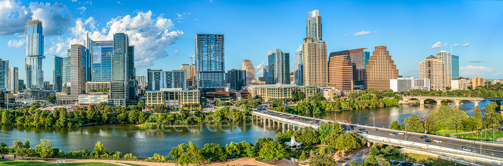 Aerial Austin Skyline, Austin, skyline, austin skylie pictures, aerial, lady bird lake, hike and bike trail, cityscape, water, pano, panorama, tallest building, Independent, Jingle, Google, Northshore