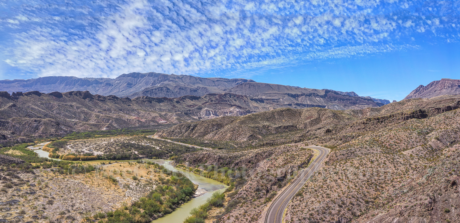 Big Bend State Park, Rio Grande, aerial, border, landscape, mexico, mountians, river road, us, water, pano, panorama, border, chiso mountain range, , photo
