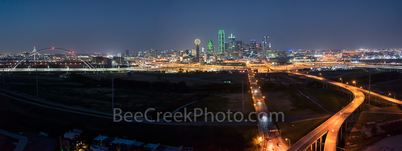 Dallas skyline, pano, panorama, dark, aerial, city, roads, downtown, Trinity river, Margaret Hunt Hill Bridge, Margaret McDermott bridge, skyscrapers, Bank of America, landmark, Reunion tower, Comeric, photo