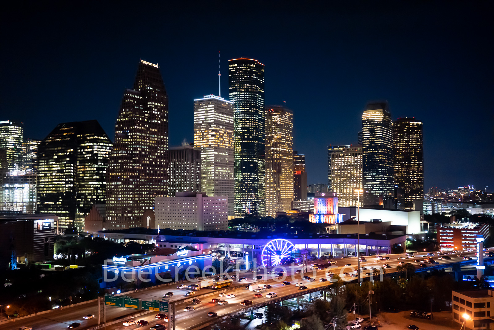 Houston skyline, aerial, night, IH45, cityscape, downtown, city, Aquarium, ferris wheel, city hall, rainbow, colors, colorful, modern, high rise, southern US, Texas, culture, parks, business,, photo