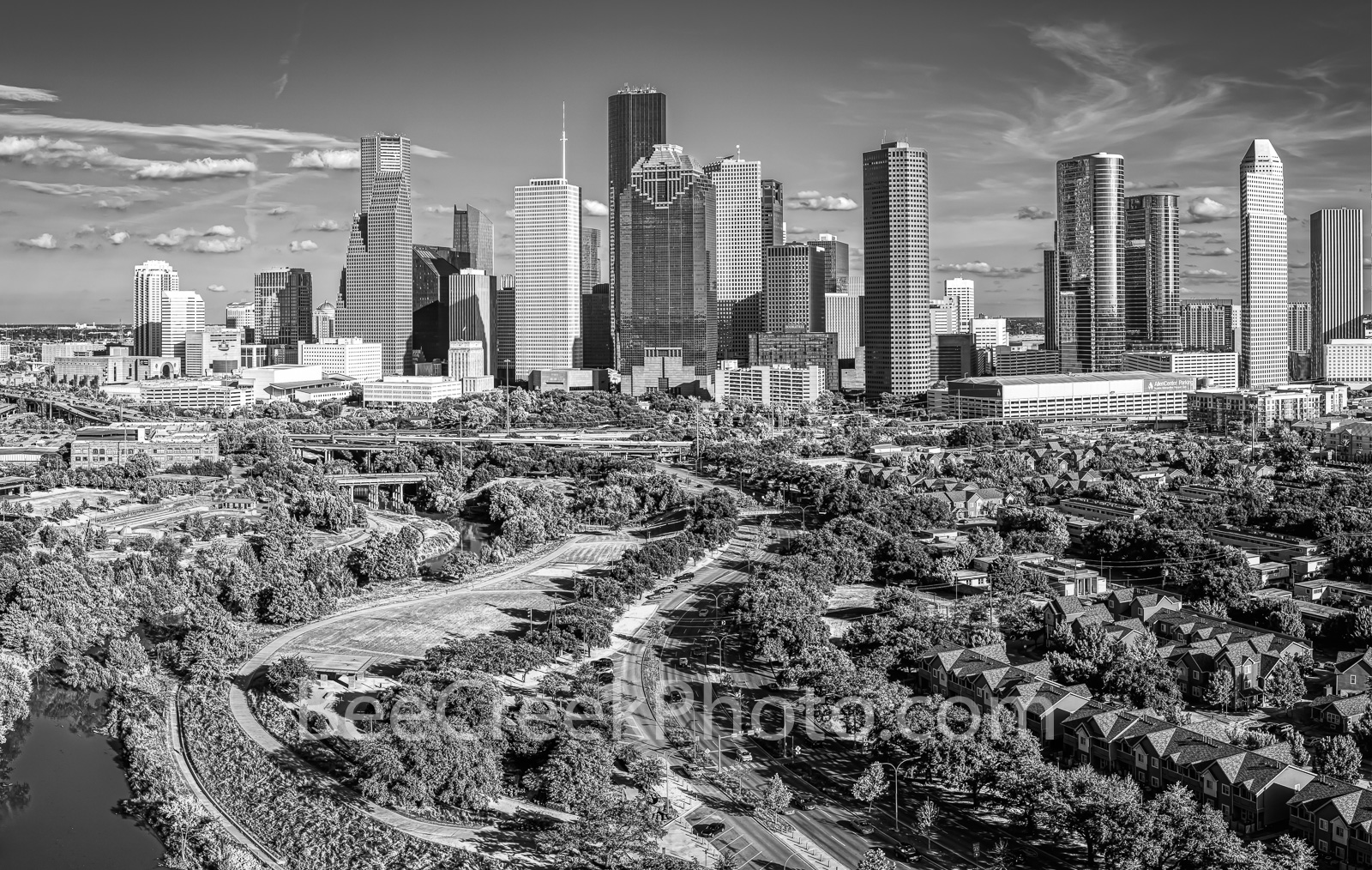 Houston, Aerial Houston skyline Panorama, aerial, skyline, black and white, cityscape, cityscapes, city, park, skylines, downtown, skyscrapers, bayou, green, Eleanor tinsley Park, Jamail Skate Park, d, photo