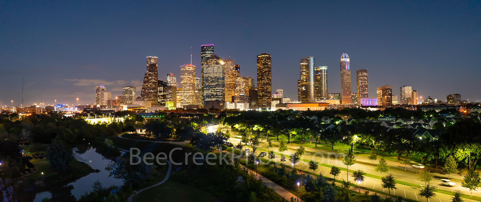 Aerial, Houston Skyline, Night, Allen Parkway, street lights, downtown,Buffalo Bayou,Jamail Skate Park, pano, panorama, panoramic, Texas aerial, houston aerials,, photo