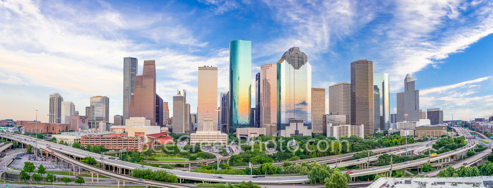 Aerial Houston Skyline Pano -  Capture this aerial panorama of Houston Skyline right as the sun was setting and as it was going...