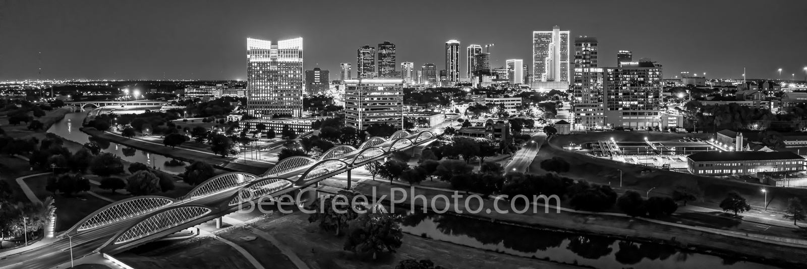 Fort Worth skyline, Ft Worth, skyline, skylines, black and white, b w, cityscape, cityscapes, downtown, night, seventh street bridge, 7th street, Trinity river, panorama, pano, Tarrant county, DFW Met, photo