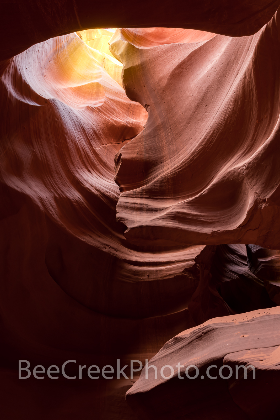 Antelope Canyon Abstract Vertical  - This captures the beauty and mystery of the Antelope Canyons one of the many slot canyons...