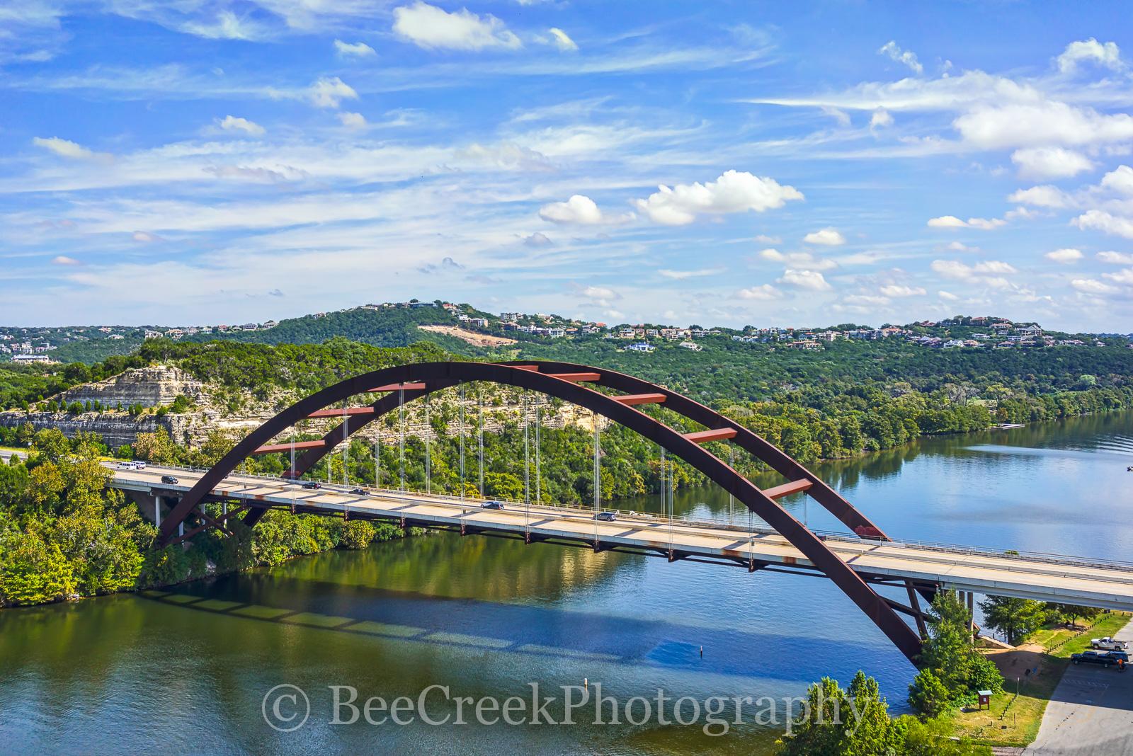 Austin, Pennybacker Bridge, 360 Bridge, Lake Austin, cityscape, over austin, architecture, architectural, water, boat, reflections, images of austin, photos of austin, pictures of austin, images of 36, photo