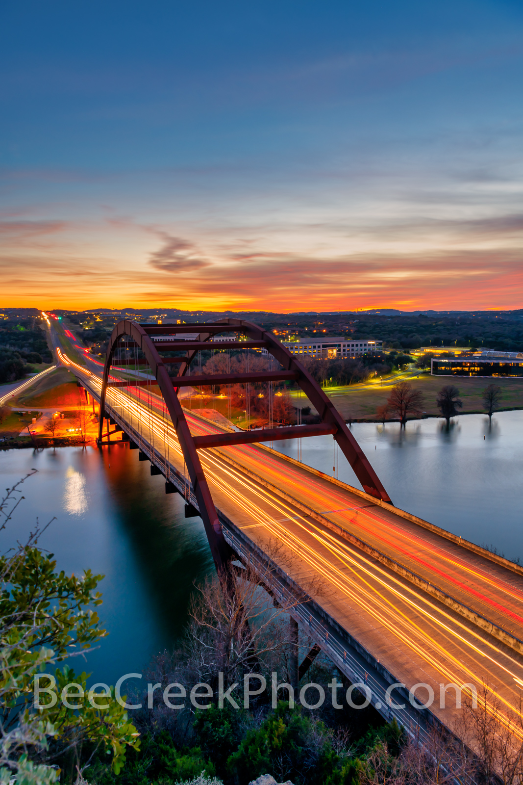 Austin, Pennybacker, bridge, Austin 360 bridge, night, dark, sunset, vertical, Lake Austin, colors, texas hill country,texas scenery, boats, hill country, texas landscape, recreational, boating, swimm, photo