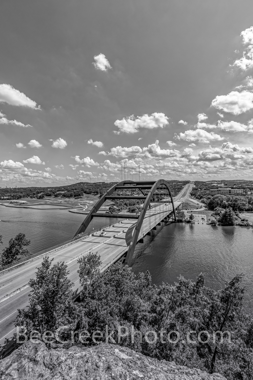 Austin Texas, 360 Bridge, Pennybacker Bridge, 360 hwy, texas hill country, lake austin, downtown austin, city of austin, hill coutry, Capital of Texas Highway, pennybacker overlook, black and white,ve, photo