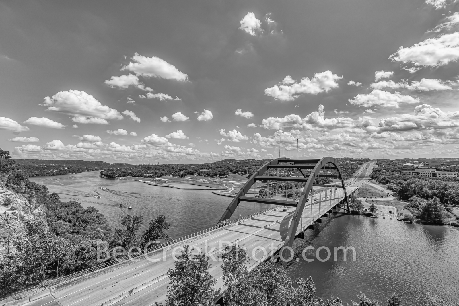 austin texas, 360 bridge, pennybacker bridge, 360 hwy, texas hill country, lake austin, downtown austin, city of austin, hill coutry, black and white, bw, b w, capital of texas highway, pennybacker ov, photo