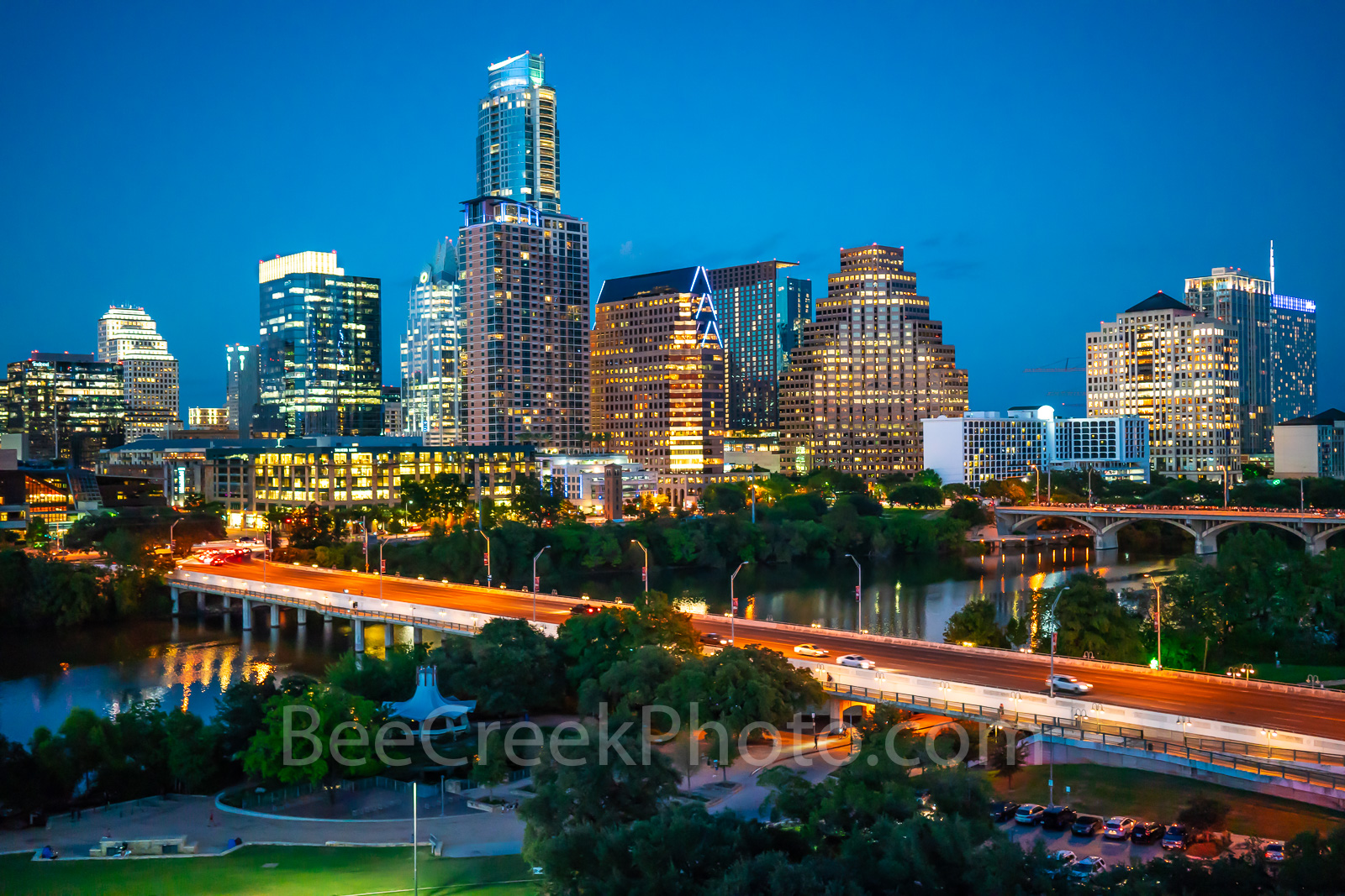 Austin Aerial Cityscape Night - Austin aerial cityscape around blue hour from auditorium shores where you can see the first street...