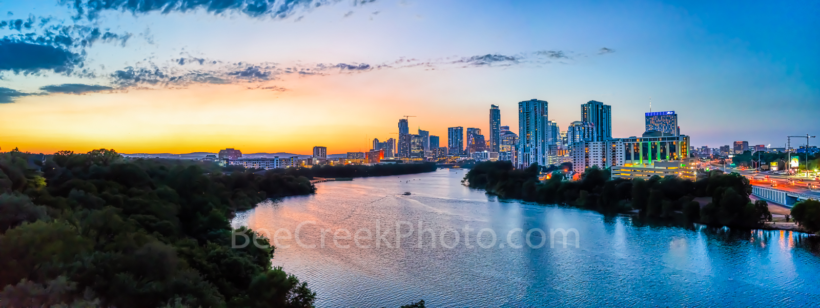 Austin Aerial Cityscape Pano - Austin aerial cityscape after sunset panorama taken from a birds eye view. This is an aerial image...