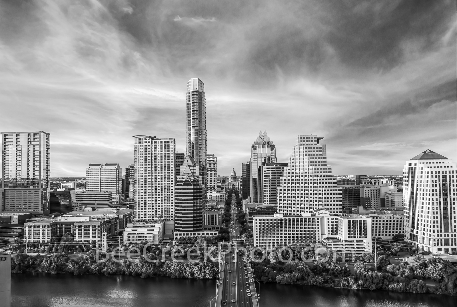 Austin skyline, aerial, capitol, capital, downtown, skyline,  city, cityscape, Congress Ave, high-rise, buildings, Frost, Austonian, One Congress Plaza, Radisson, One Congress Plaza, Ashton Condos, On, photo