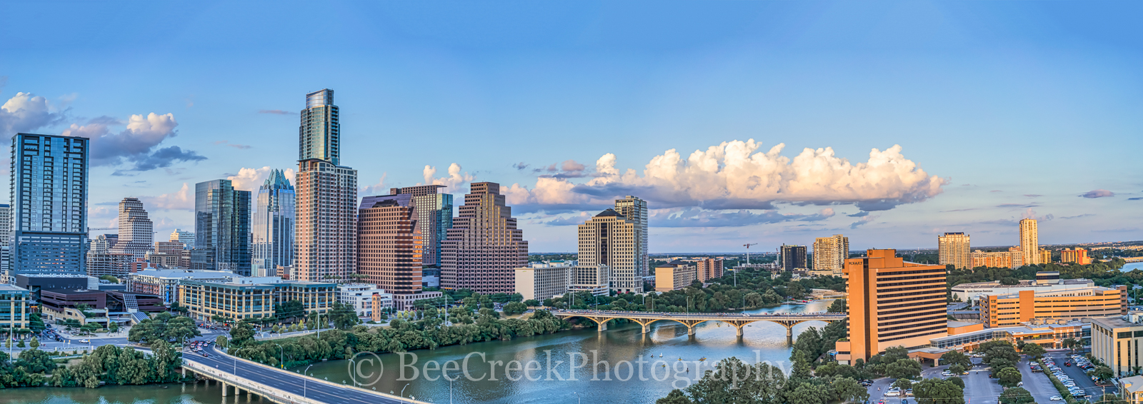 Austin, aerial, Pano, Panorama, skylines, city, downtown, cityscapes, aerial, Congress Ave.bridge, First Street, bridge, Austin City Hall, W Hotel, Colorado building, Marriott, Hyatt, Lady Bird Lake,