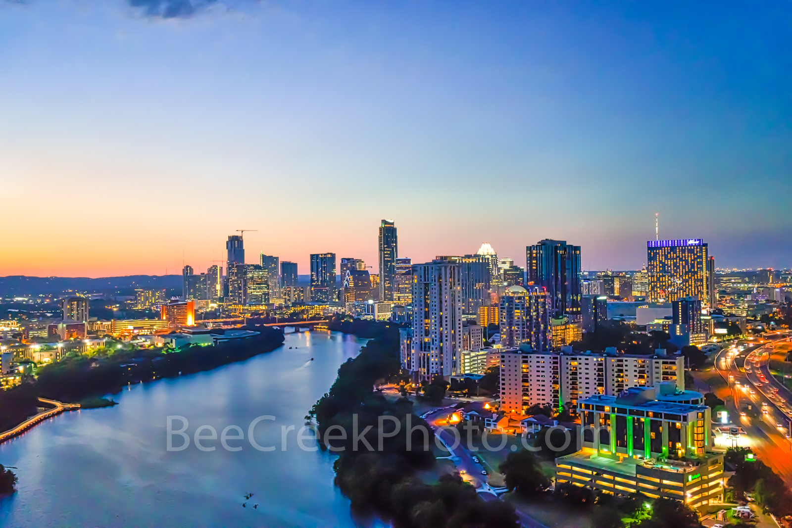 Austin Skyline at Twilight Panorama, Austin skyline, aerial, drone, Austin, night, twilight, dark, Lady Bird Lake, high rise buildings, architecture, boardwalk lights, shoreline, lake, IH35, UT, Erwin, photo