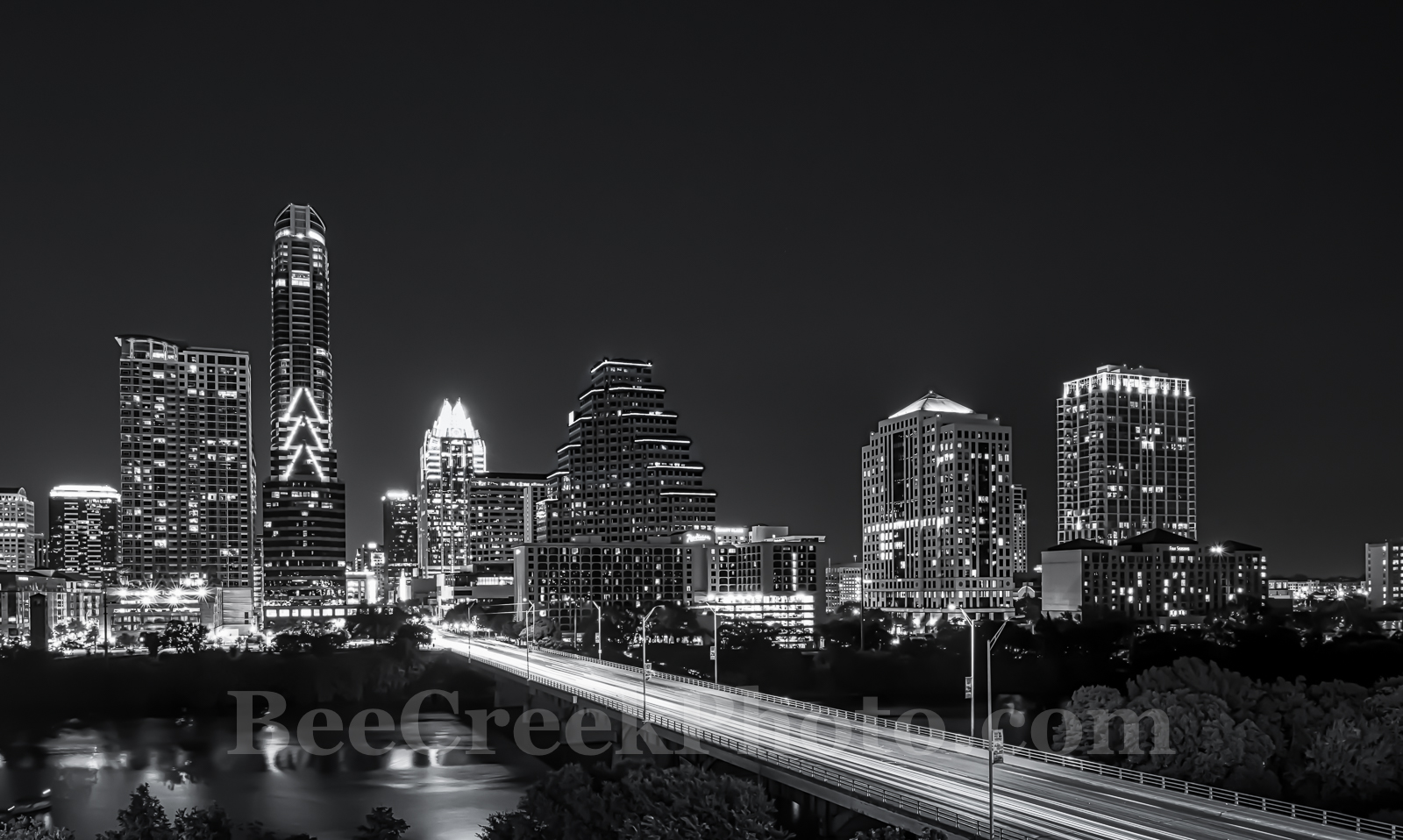 Austin, cityscape, skyline, black and white, BW, Congress bridge, night, downtown, high rise, buildings, Lady Bird Lake, city, , photo