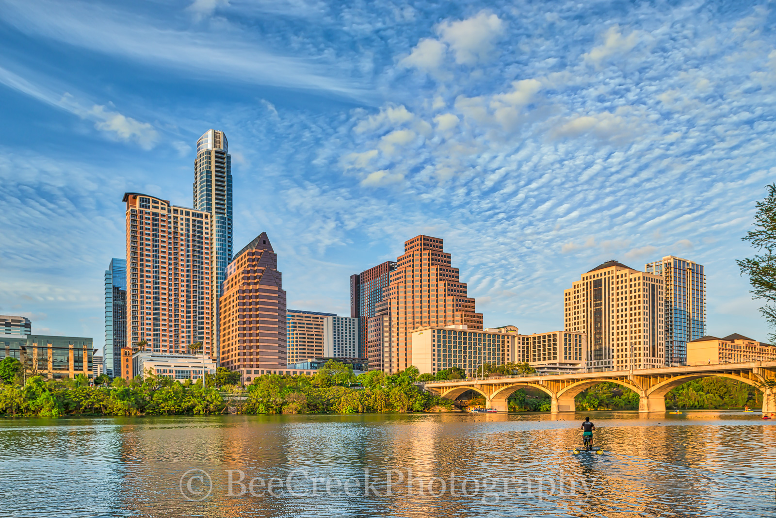 Austin, cityscape, skyline, city, clouds, hike and bike, Ladybird Lake, blue sky, water, bike, congress bridge, bats, town lake, reflections, high rise, skyscapers, clouds, , austin skylines, austin c, photo
