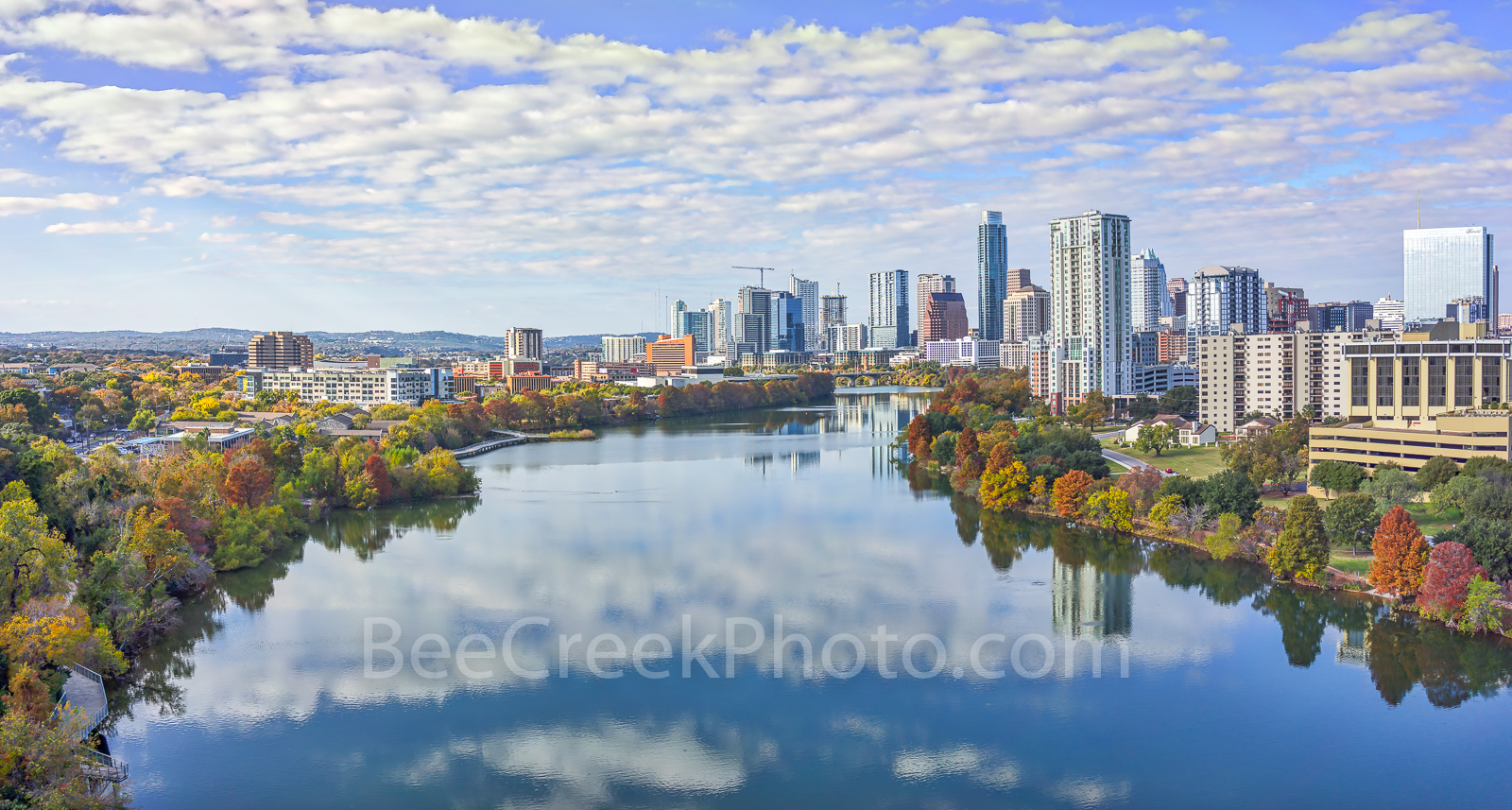 Austin Cityscape Panorama,  fall, autumn, cityscape, aerial, pano, panorama, Lady Bird Lake, fall, colors, trees, shoreline, city, downtown, water, reflected, clouds, high rise, buildings, Austin skyl, photo