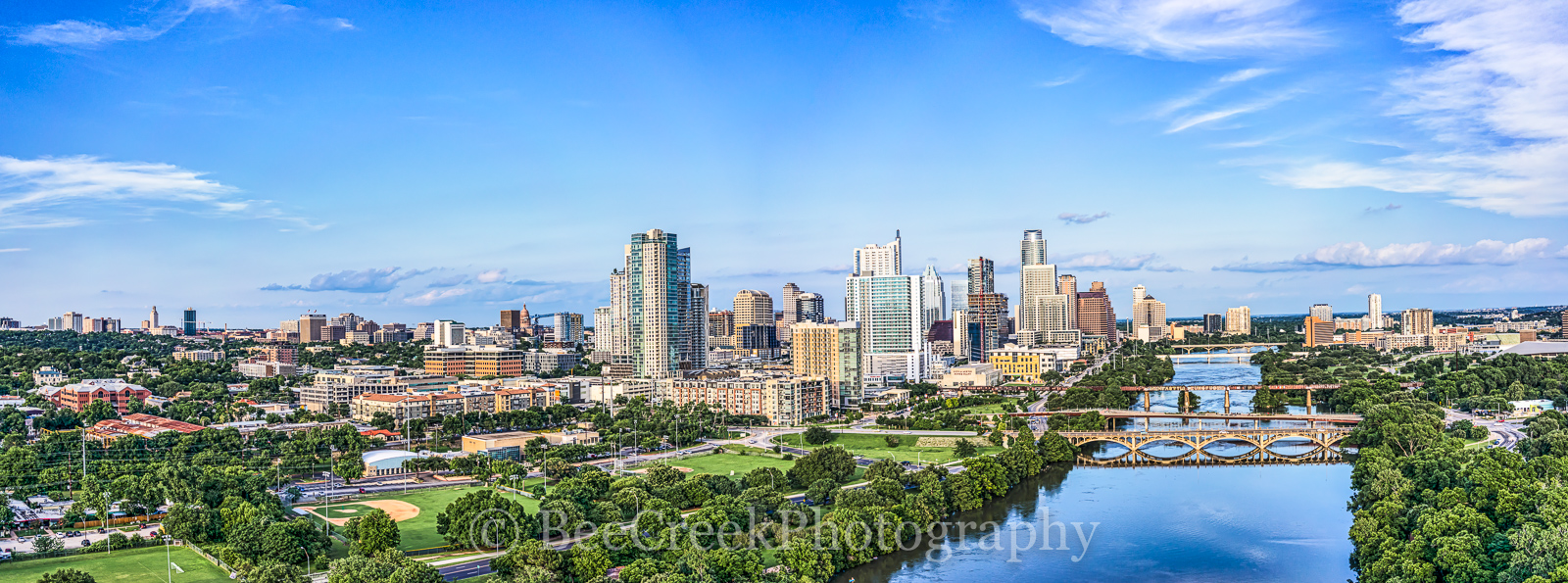 Austin, aerial, austin skylines, austin cityscapes, skylines, cityscape, cityscapes, city, downtown, high rise, cities, buildings, river, Lady Bird Lake, bridges, Lamar Bridge, Pfluger Bridge, Pedestr