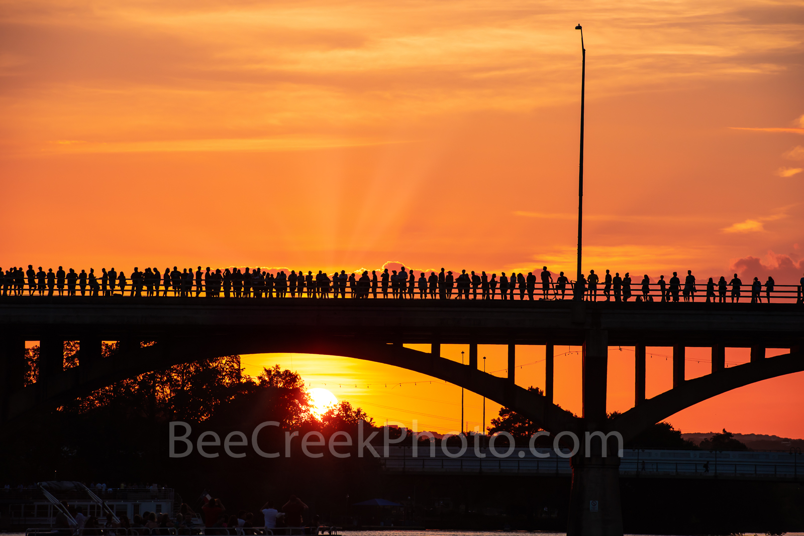 Austin, Texas, Bats, Congress Bridge, Austin Bats, cityscape, city, anticipation, street scene, people, siloutte, bat watch, spectators, orange glow,, photo