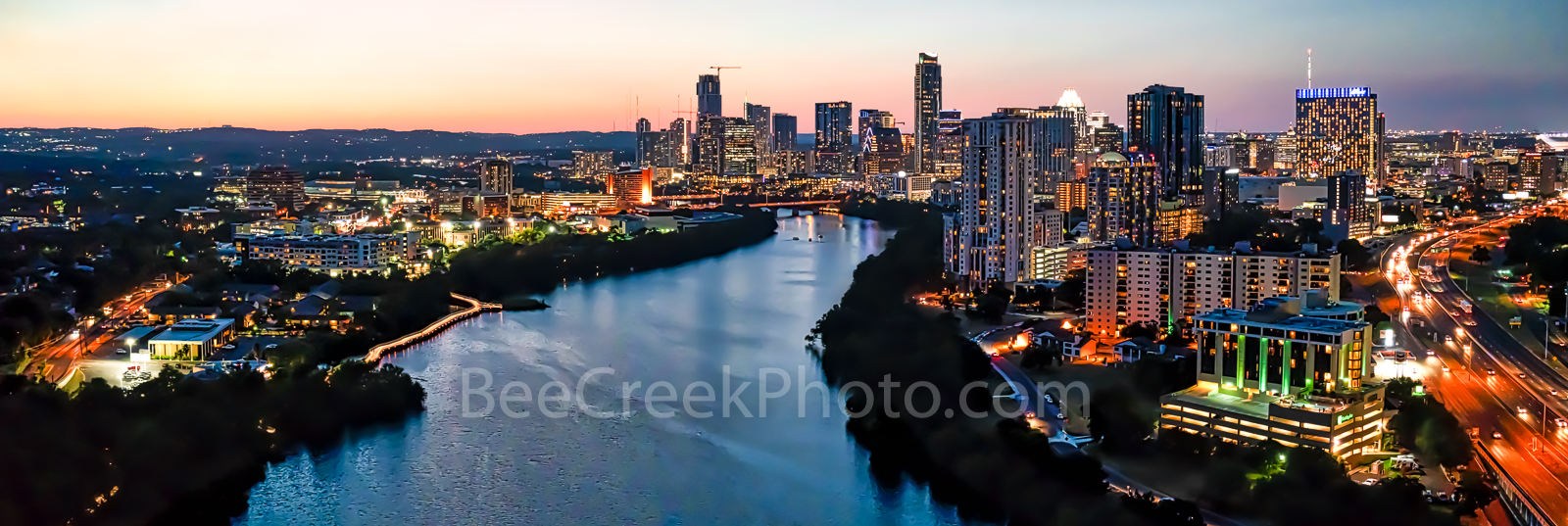 Austin Downtown Night Pano, Austin skyline, Austin cityscape, downtown, shoreline, lady bird lake, town lake, cityscape, Independent, Austonian, buildings,pano, panorama, aerial, drone,