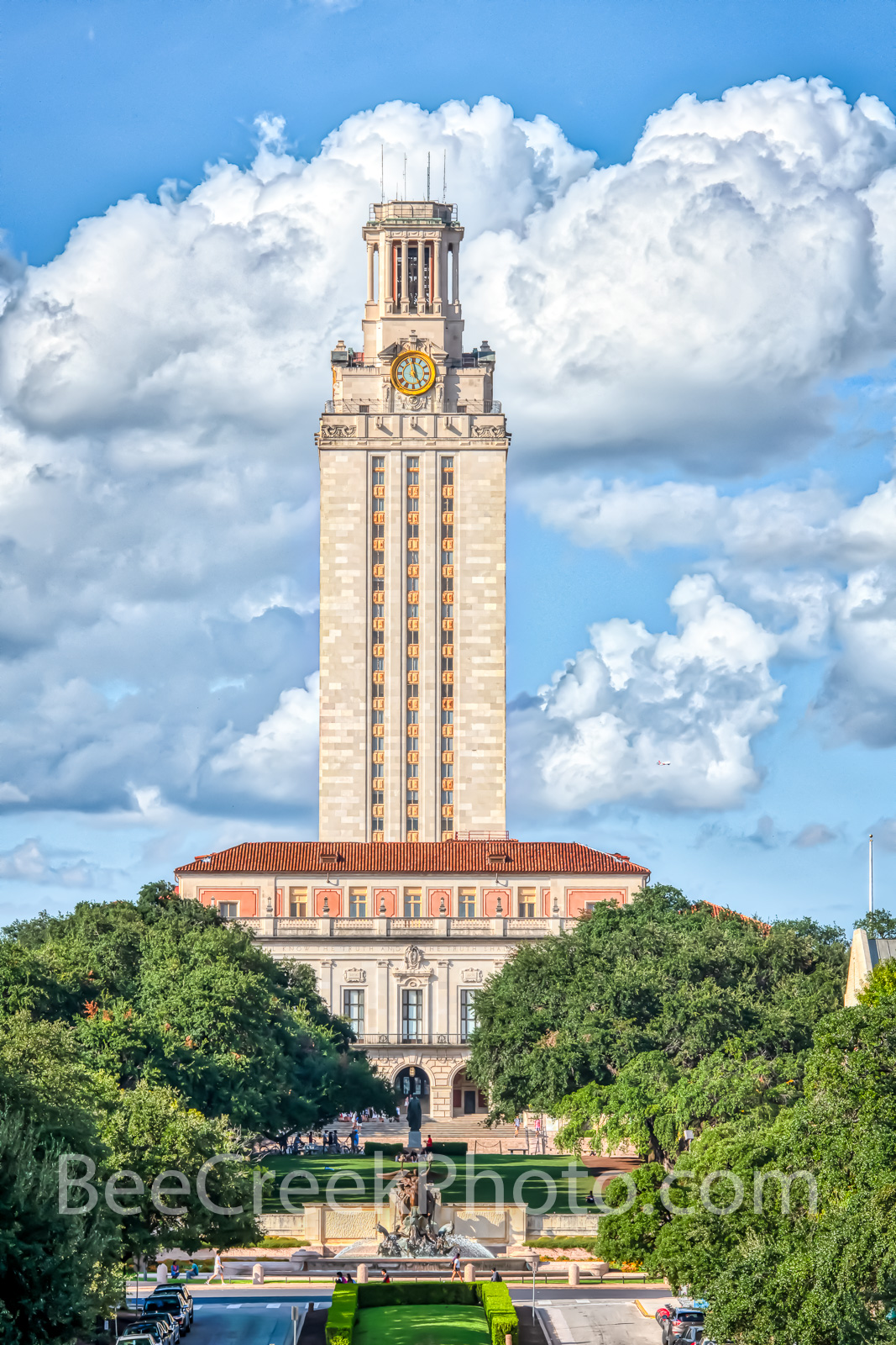 Austin Images - UT Tower Vertical 9408  - This is the UT Tower taken from the south side with the Littlefield Fountain in view...
