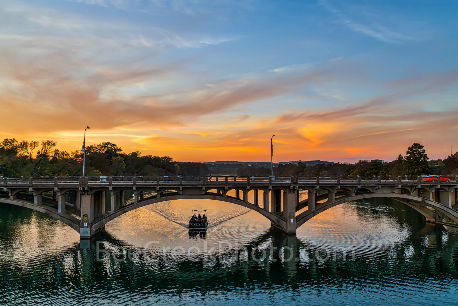 Austin Lamar Bridge, cityscape, Lady Bird Lake, sunset, sky, color, tour boat, historic arch bridge, National Registriy of Historic Places, cars, Austin Lamar Bridge at Sunset, photo