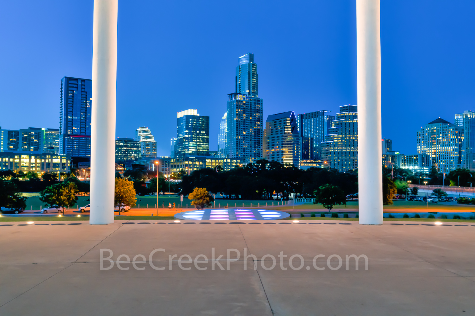 Austin Long Center Twilight, Long Center, Lady Bird Lake, performing art, pavillian, Austin skyline, cityscape, city, downtown,, photo