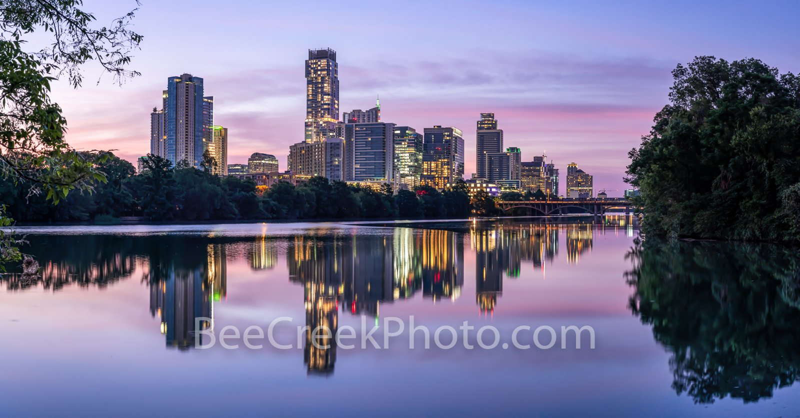 Austin Skyline, austin lou neff point, lou neff point, sunrise, reflections, pano, panorama, Independent, austonian, lamaar bridge, pinks, violet,  purple, violet crown, architecture, beecreekphoto, c