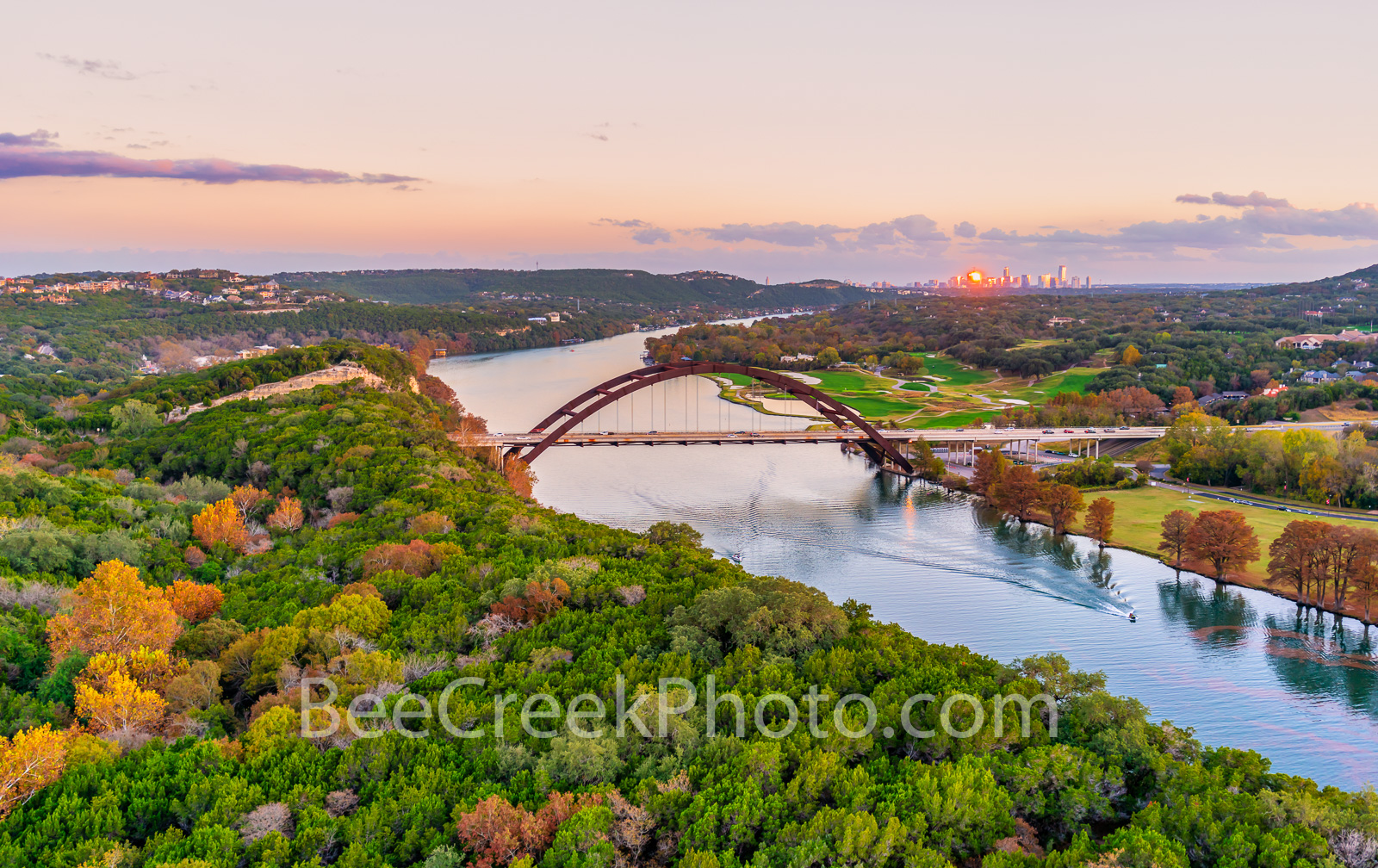 Austin Pennybacker Bridge Pano Twilight - Another aerial capture of the Austin Pennybacker bridge as the bald cypress display...