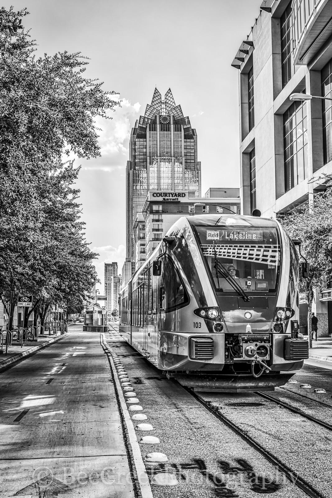 Austin, light rail, metro, downtown, Frost, city, black and white, , photo