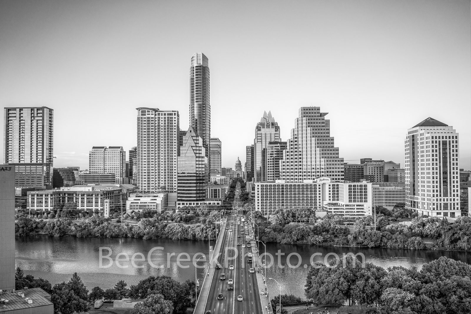 Austin skyline, aerial, capitol, capital, black and white, b w , downtown, skyline, city, cityscape, Congress Ave, high-rise, buildings, Frost, Austonian, One Congress Plaza, Radisson, One Congress Pl, photo