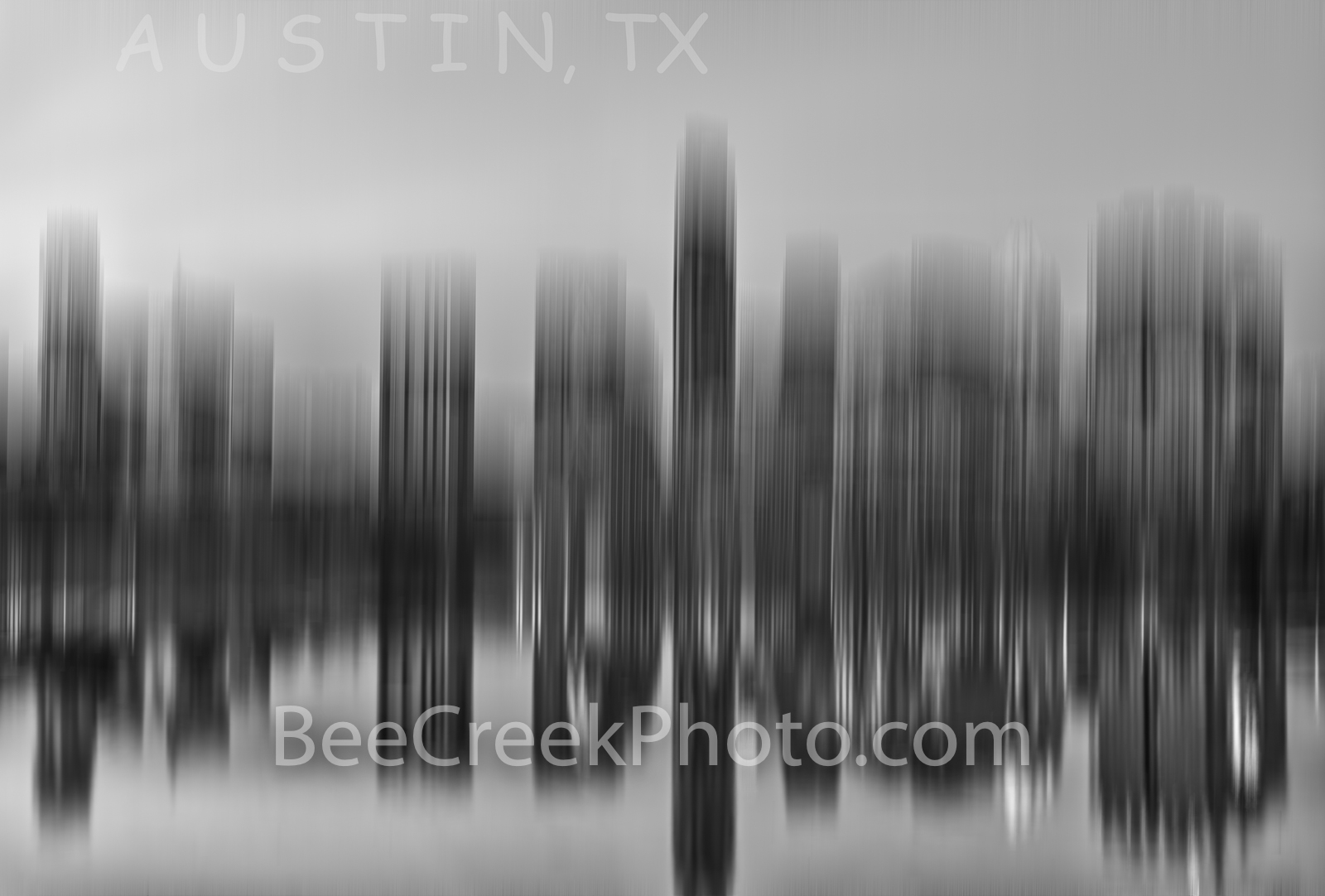 Austin Skyline Abstract BW - This is a modern abstract of the Austin skyline from across Lady Bird lake. It is a contemorary...